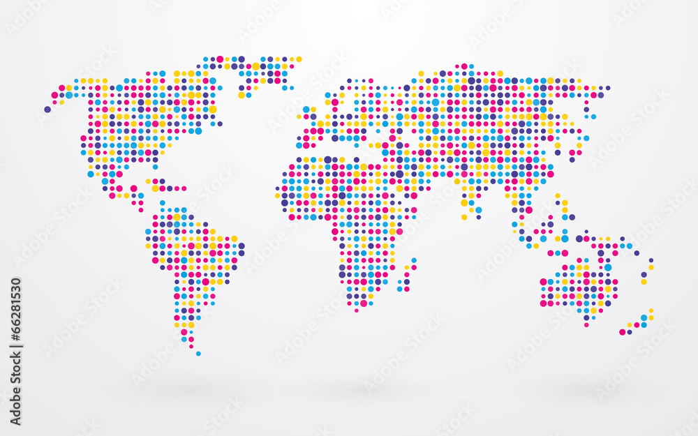 Fototapety, obrazy: world map made ​​up of small colorful dots