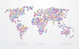 mapa świata złożona z małych kolorowych kropek
