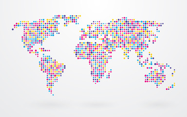 Fototapetaworld map made up of small colorful dots