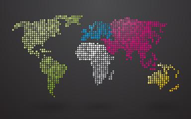fototapeta mapa świata kolorowe kontynenty