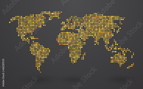 map of world composed of small yellow polka dots