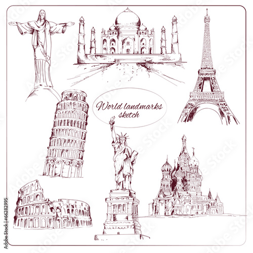 Fotografie, Obraz  World landmark sketch