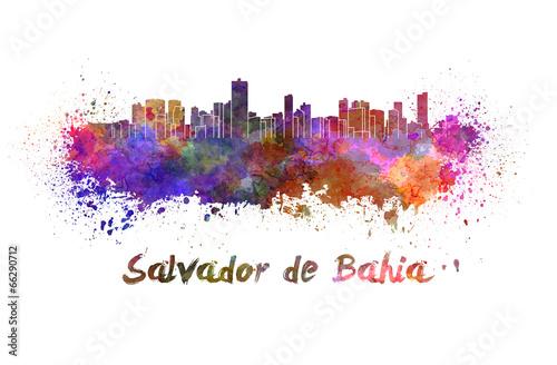 Photo Stands Beijing Salvador de Bahia skyline in watercolor