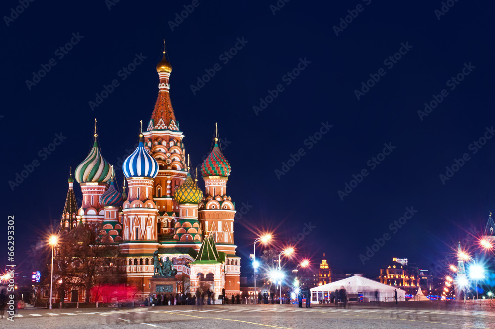 Fototapety, obrazy: Moscow St. Basil's Cathedral Night Shot