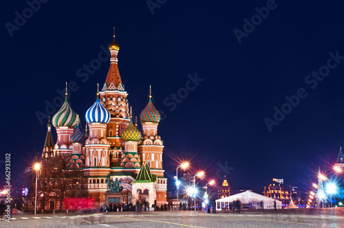 Poster Moskou Moscow St. Basil's Cathedral Night Shot