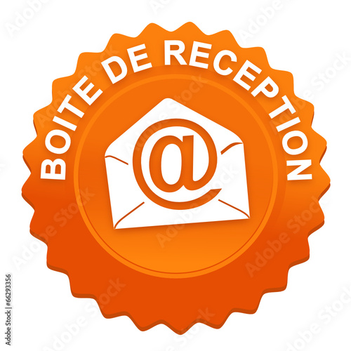 Fotografia, Obraz  boite de réception sur bouton web denté orange