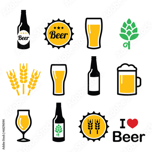 Beer colorful vector icons set - bottle, glass, pint Wallpaper Mural