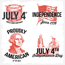 Retro 4th Of July Labels
