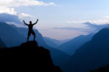 Man Hiking Success Silhouette ...