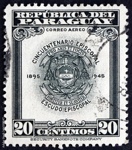 Photo Postage stamp Paraguay 1948 Archbishopric Coat of Arms, Asuncion