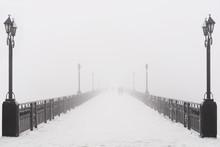 Bridge City Landscape In Foggy Snowy Winter Day