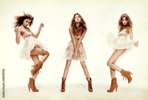 Fotografie, Obraz  triple image of fashion model in different poses