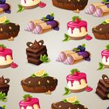 Sweets dessert seamless pattern