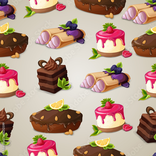 Sweets dessert seamless pattern - 66312599