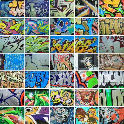 Deurstickers Graffiti collage Graffiti, walls are painted colors, background, street culture