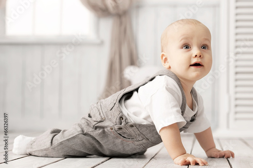 Portrait of a crawling baby Canvas Print