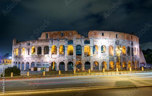 Colosseum (Coliseum) at night, Rome Canvas Print