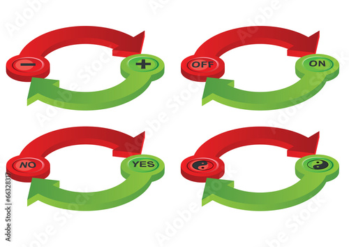Photo  Vector format of contradictory green and red spatial arrows