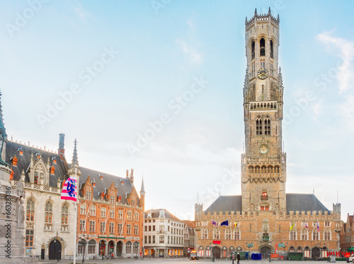Belfry of Bruges and Grote Markt square, Belgium Fototapeta