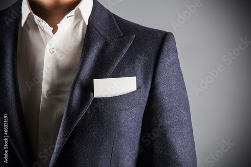 Fotografie, Obraz  man wearing suit. business card in the pocket