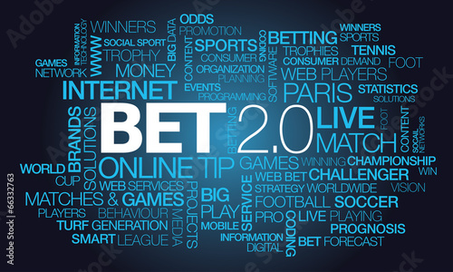 Fotografía  Bet 2.0 online betting live match odds gamble words tag cloud