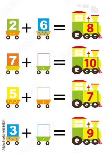 Photo  math trains for kids - vectors