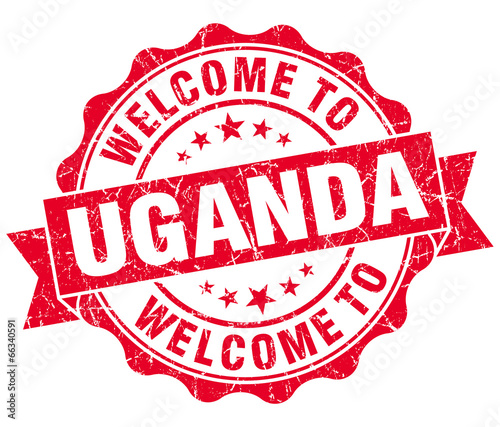 Welcome to Uganda red grungy vintage isolated seal Wall mural