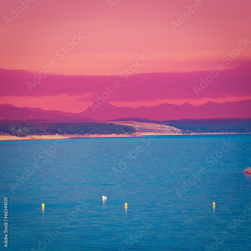 Deurstickers Roze Lake