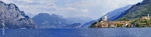 Canvas Prints Blue sky panorama of beautiful Lago di Garda, Malcesine. Italy