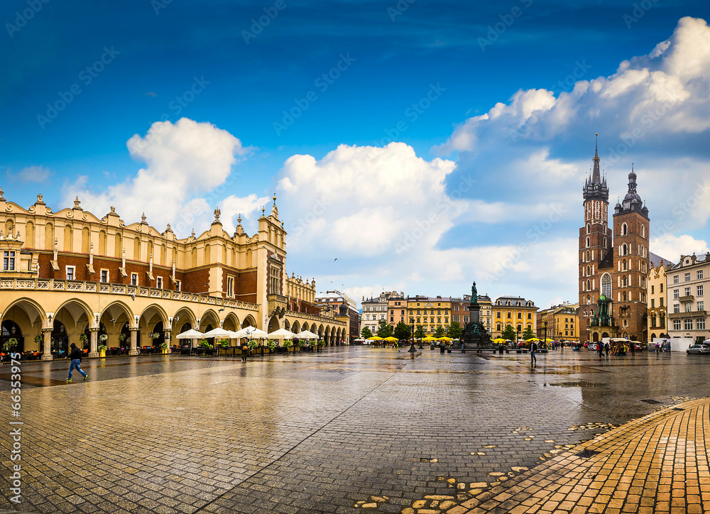 Fototapeta Krakow - Poland's historic center, a city with ancient