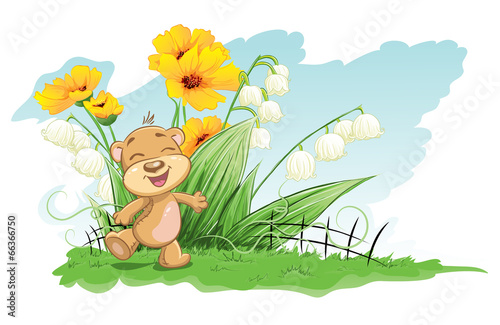 Aluminium Prints Ladybugs Illustration cheerful bear with lilies and flowers