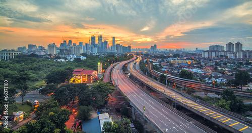 Photo Stands Kuala Lumpur Sunset of Kuala Lumpur City of Malaysia
