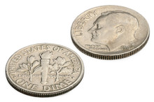 U.S. Ten Cents Coin Isolated O...
