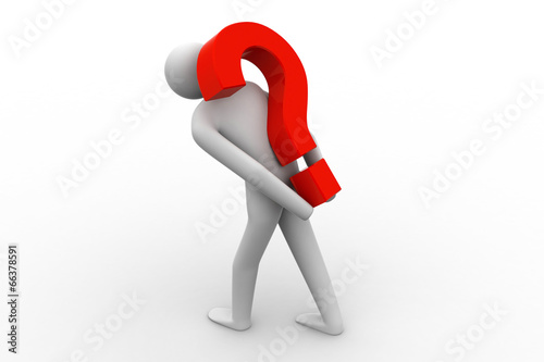 Photo Business man carrying question mark