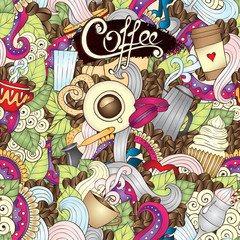 Fototapeta Kawa Hand-Drawn Coffee Doodle Vector Illustration. Design Template.