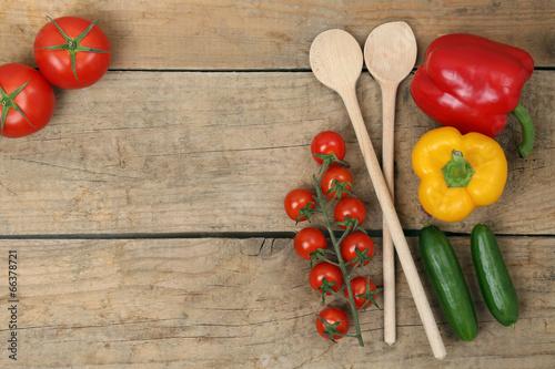 Fotografie, Obraz  Gesunde Zutaten zum Kochen mit frischem Gemüse