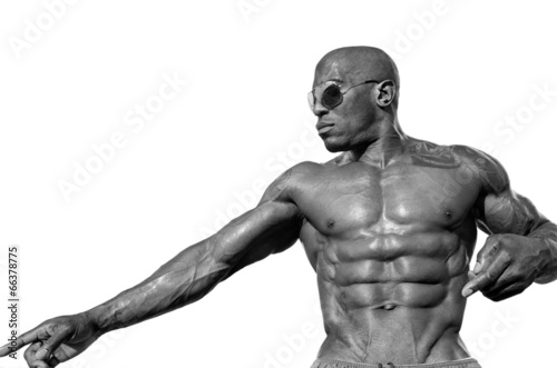 Fototapeta Bodybuilder with perfect abs, shoulders,biceps, triceps,chest obraz na płótnie