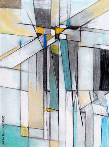 Fototapety, obrazy: A Charcoal and Pastel Study for an Abstract Painting