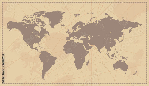 Fotografie, Obraz  Old Vintage World Map