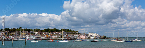 Canvas Print Cowes harbour Isle of Wight on a calm blue sky summer day