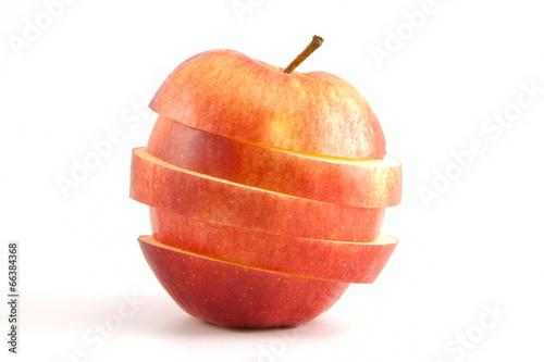 Spoed Foto op Canvas Opspattend water sliced red apple