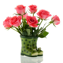 Bouquet Pink Roses In Boots