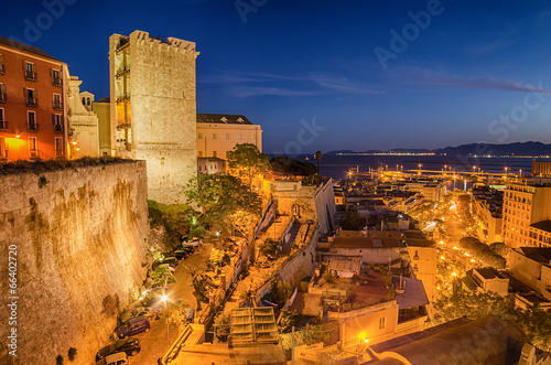 Photo  Old Town of Cagliari (Capital of Sardinia, Italy) in the sunset