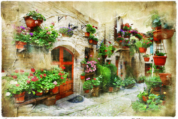 Panel Szklany floral streets of Spello, Umbria, Italy. artistic picture