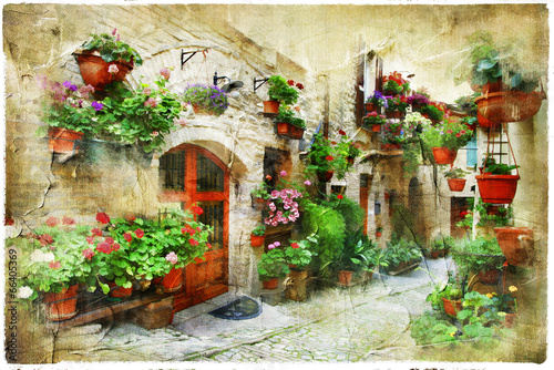 Fototapety, obrazy: floral streets of Spello, Umbria, Italy. artistic picture