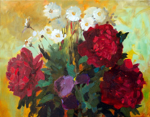Panel Szklany Peonie Oil painting of the beautiful flowers.