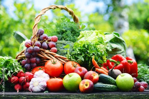 Foto op Plexiglas Groenten Fresh organic vegetables in wicker basket in the garden