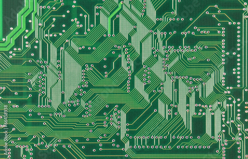 Fotografiet  Close up of a printed green computer circuit board