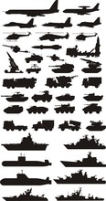 Military Mashine Plane And Boats Silhouettes