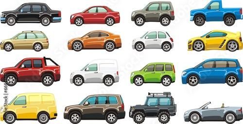Keuken foto achterwand Cartoon cars cartoon passenger car lorry and van for illustration